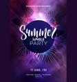dark purple neon tropical summer party flyer vector image vector image