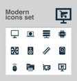 digital icons set with internet monitor ram and vector image vector image