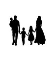 family silhouettes father mother and three vector image vector image