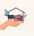 father hand holding his happy family in a house vector image