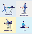first aid emergency scenes poster set vector image vector image