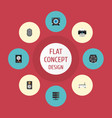 flat icons web cam hard disk amplifier and other vector image