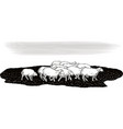 flock of sheep in a meadow vector image vector image