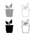 flowerpot or pot with plant icon set grey black vector image vector image