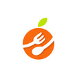food fork spoon fruit orange logo vector image
