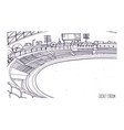 freehand sketch of cricket stadium with rows of vector image