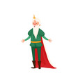funny happy white beard king with green clothes vector image vector image