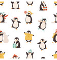 funny polar penguin having fun seamless pattern vector image