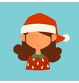 Girl Christmas Santa red hat avatar face icon vector image
