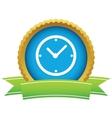 Gold clock logo vector image vector image