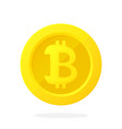 gold coin with bitcoin sign in flat style vector image