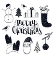 hand drawn christmas objects vector image vector image