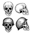 hand drawn death scary human skulls vector image vector image