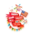 Happy independence day banner Red ribbon with vector image
