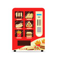 hot food automatic vending machine with sausage vector image vector image