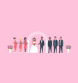 just married bride and groom with bridesmaids vector image vector image