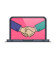 laptop outline icon with hand shaking gesture vector image