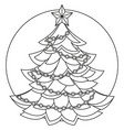 line art black and white christmas tree vector image