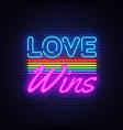 love wins neon text love wins neon sign vector image vector image