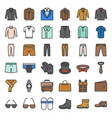 male clothes and accessories filled outline icon vector image vector image