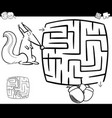 maze with squirrel coloring page vector image vector image