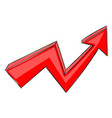 red up arrow financial rising trend graph hand vector image