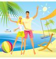 romantic couple enjoy vacation on beach vector image
