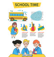 school time - colorful flat design style poster vector image