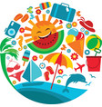 summer vacation template of summer icons vector image vector image
