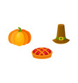 thanksgiving set - pumpkin fruit pie pilgrim hat vector image vector image