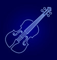 violin from glowing blue neon luminescence lines vector image