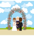 Wedding ceremony near floral arch vector image