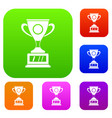 winner cup set color collection vector image vector image