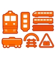 yellow rail road icons set vector image vector image