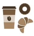 coffee donut and croissant vector image