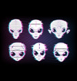 alien faces or heads with digital glitch effects vector image