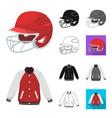 baseball and attributes cartoonblackflat vector image