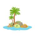 big pile of money lying on a tropical island vector image