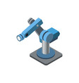 blue robotic arm on white vector image