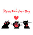 cats in love and love lettering vector image
