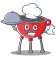 chef barbecue grill cartoon character vector image