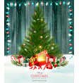 christmas holiday background with a green tree vector image