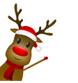christmas reindeer with a scarf and a santa claus vector image vector image
