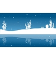 Christmas winter scenery of silhouette and vector image vector image