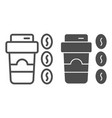 coffee to go and beans line and glyph icon paper vector image