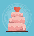 colorful background of wedding cake with heart on vector image vector image