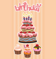 colorful birthday desserts template vector image vector image