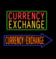 currency exchange glowing neon sign vector image vector image