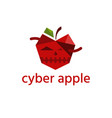 cyber apple with worm technology design template vector image vector image