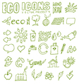 eco icons hand draw 3 vector image